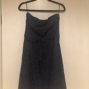 Navy Trina Turk strapless lace dress with ribbon